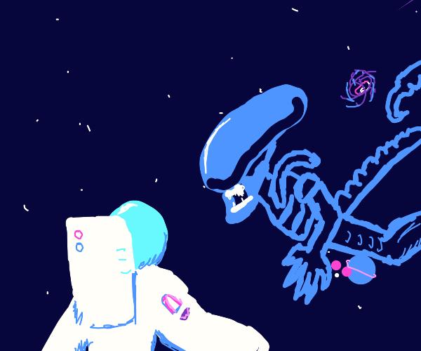 Meeting an alien in space