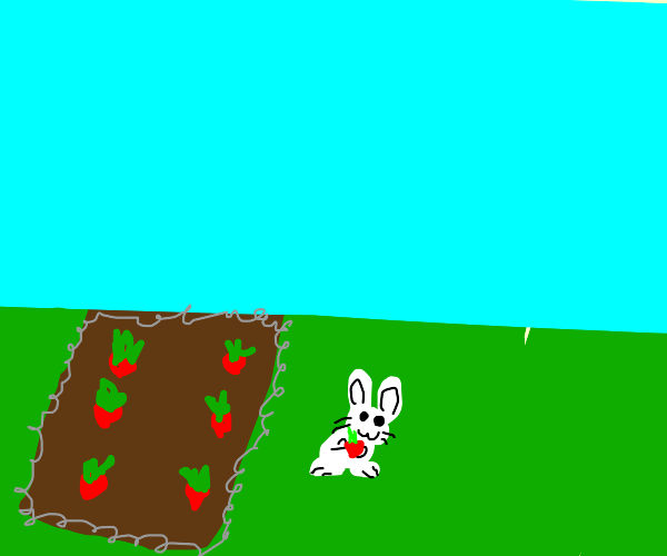 Rabbit stealing radishes from the garden .-.