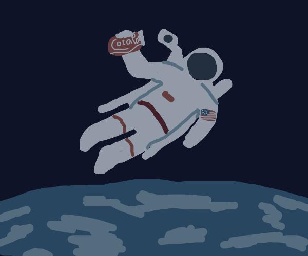Grey astronaut floating in space w/ a soda