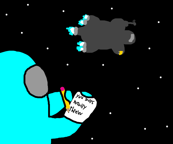 Man writing note in space