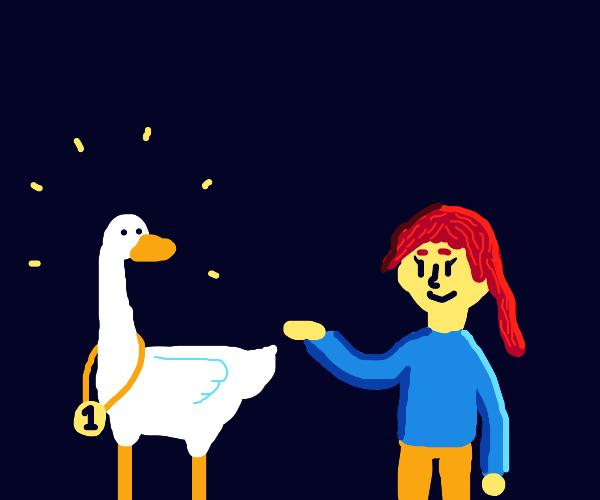 Redhead Girl Has Impressive Goose