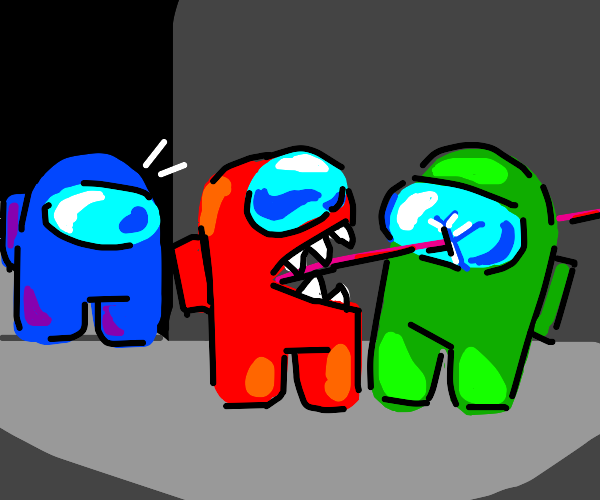 red imposter killed green in front of blue