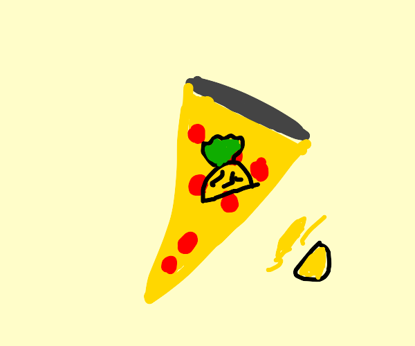 Half a pineapple on a pizza