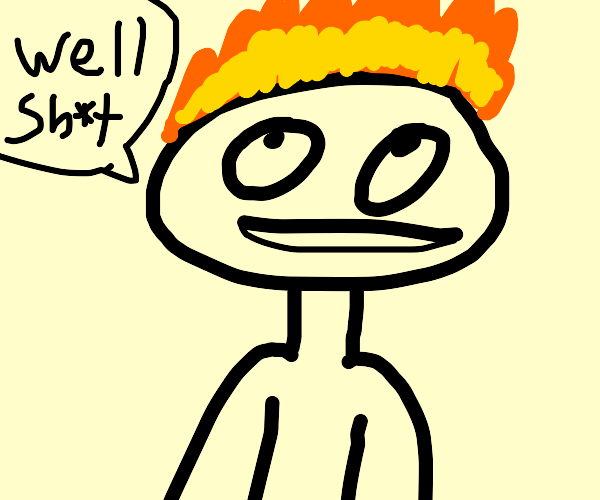 Guy's hair that's on fire