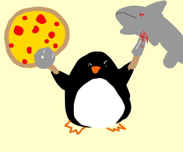penguin cuts shark and pizza at the same time