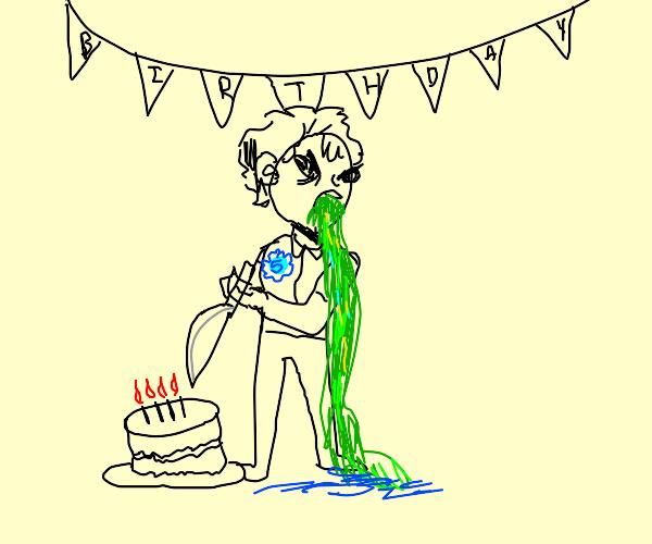 Man is murdering a cake, birthday boy vomits