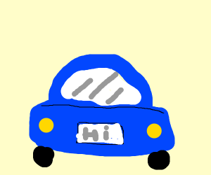 Blue car from front