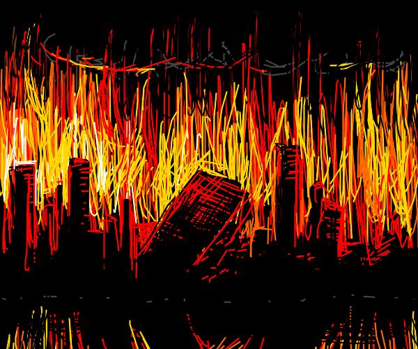 City skyline burning