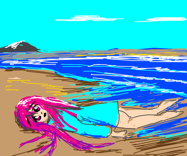 anime girl washed up on shore