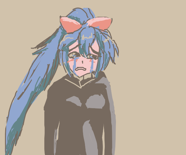Woman with blue floaty ponytail, crying