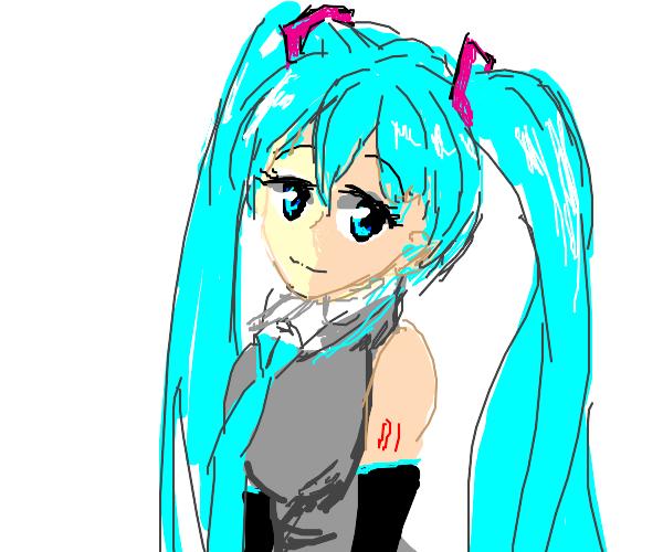 Miku with cyan hair