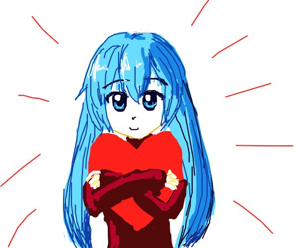 Girl hugs heart
