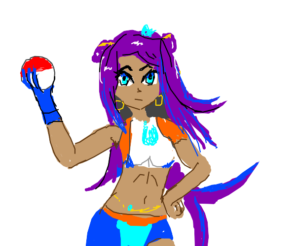 Nessa (pokemon gym leader) holding pokeball