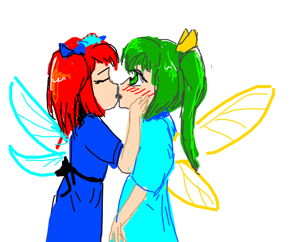 Red and green fairies kissing