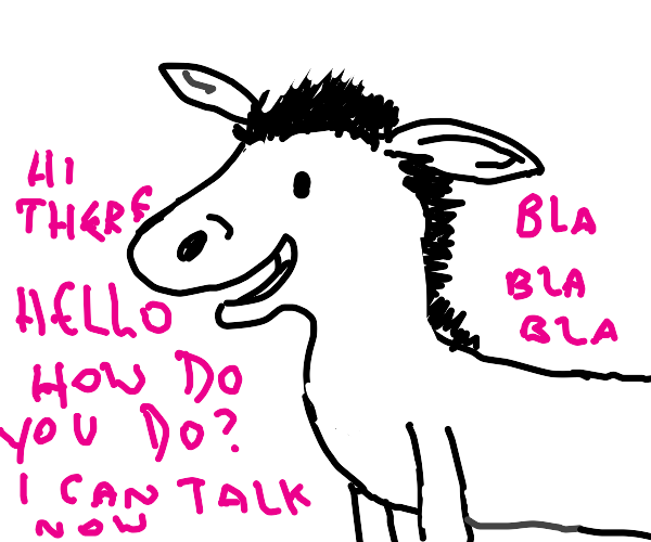 Donkey talks in pink text now!
