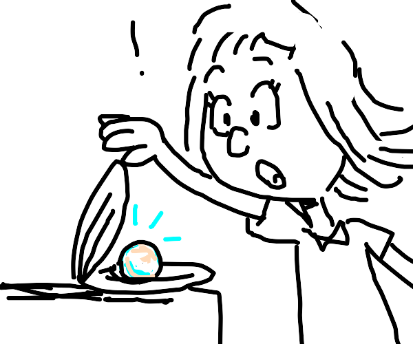 Girl is amazed to find a pearl in a clam
