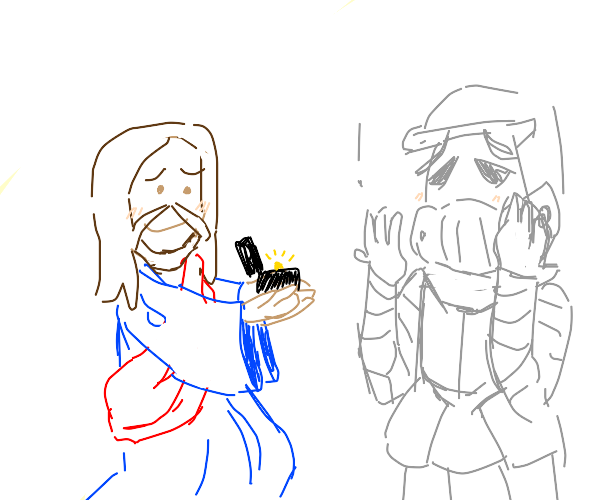 jesus proposing to a knight