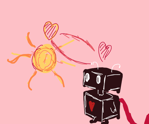A chibi robot  is in love with the sun