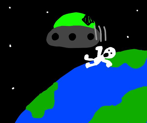 Man falling on Earth