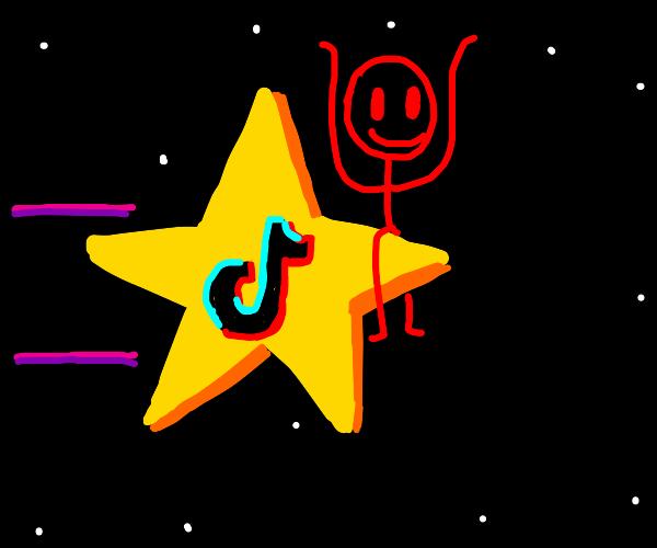 Red stick figure on a star . Star of TikTok