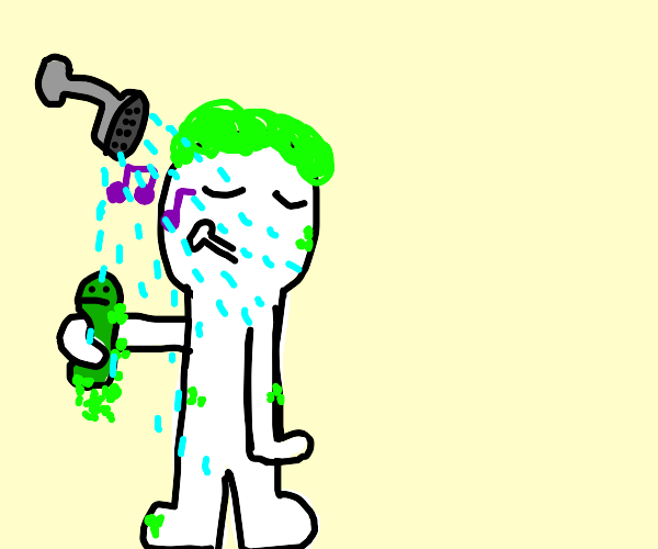 green soap man will help showering guy