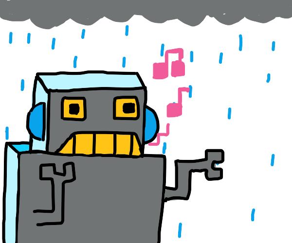 robot must dance in the rain