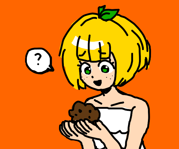 Lemon girl confused by muffin