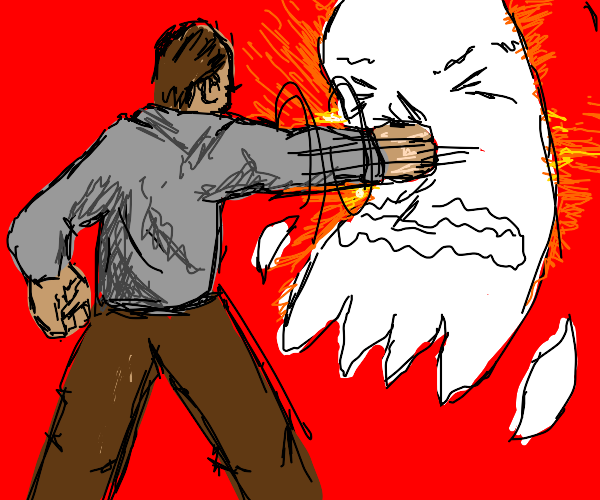 Man punches a ghost