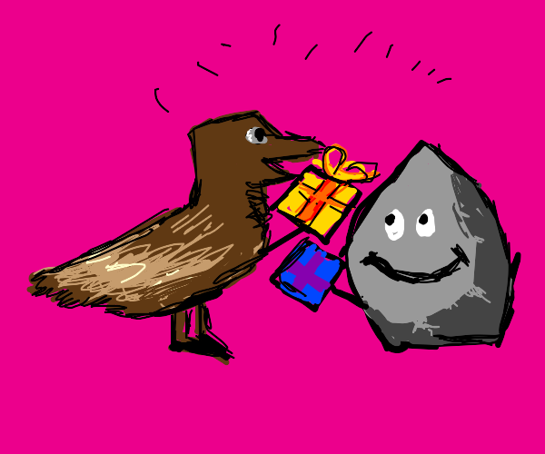 Happy duck and happy rock exchanging gifts