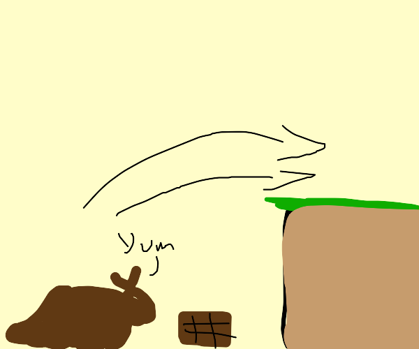 BROWN BUNNY EATS WHITE CHOCOLATE AND JUMPS
