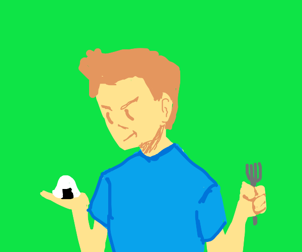 Man holding a rice ball and a fork