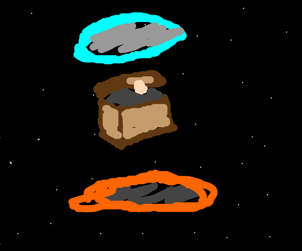 chest forever falling thru portals in space