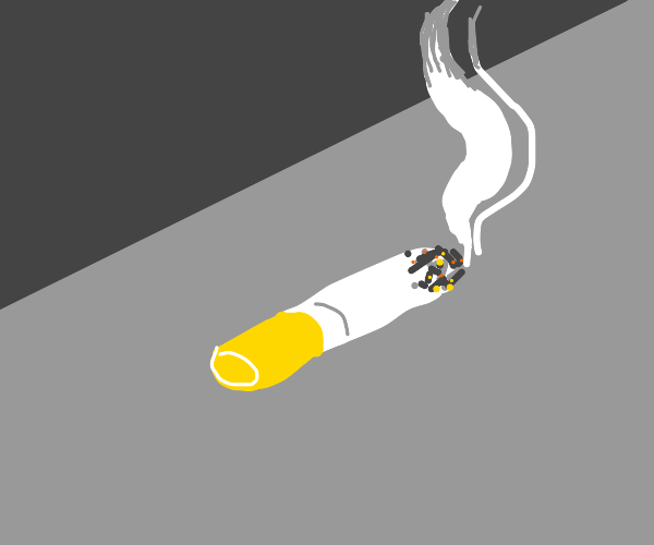 lit cigarette on the ground