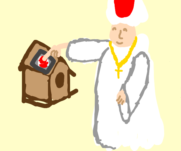 pope pushing a button on a birdhouse