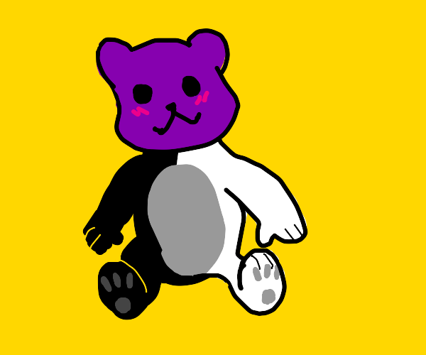 Half white/black teddy bear with purple head