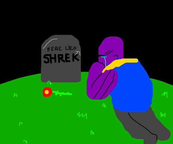 Thanos crying over shrek's death