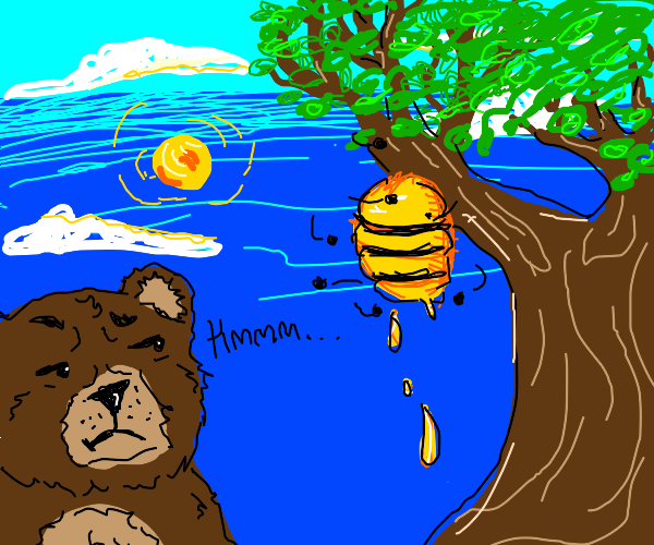 bear looking strangely at a beehive