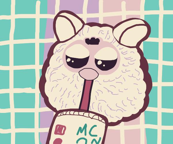 furby drinking McDonald's milkshake