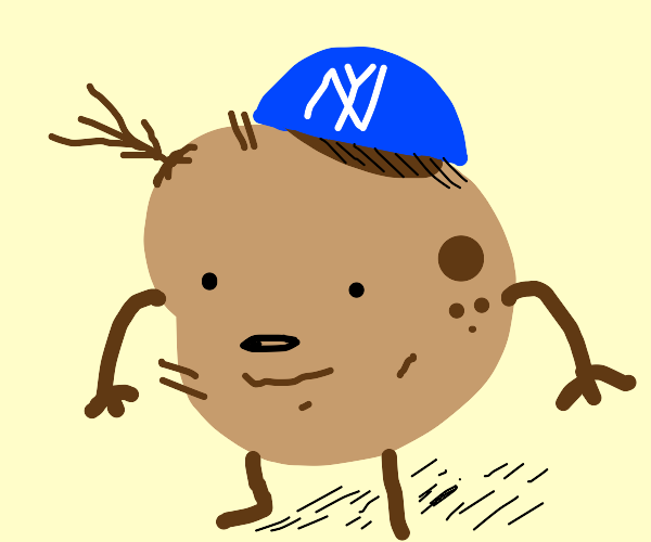 potato wearing yankee with no brim
