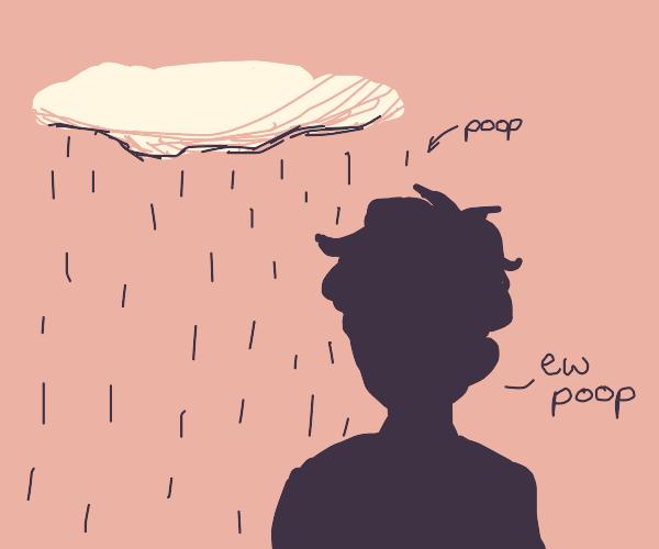 Man says Ew upon seeing a poop cloud.
