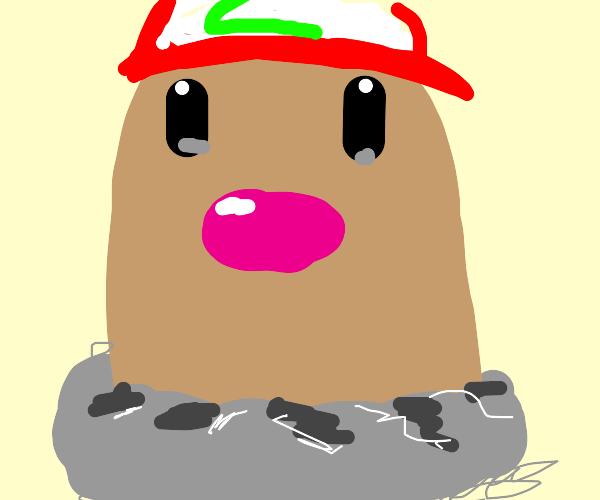 Diglett wearing Ash's hat