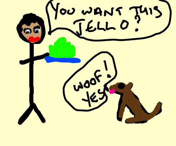 Dog wants a guys jello