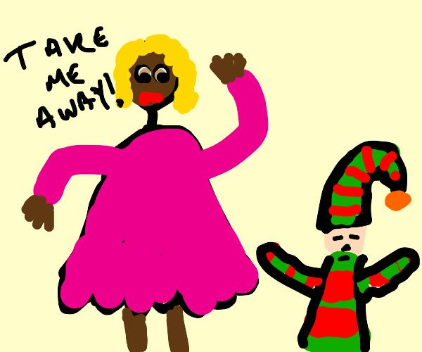 Woman orders elf to take her away