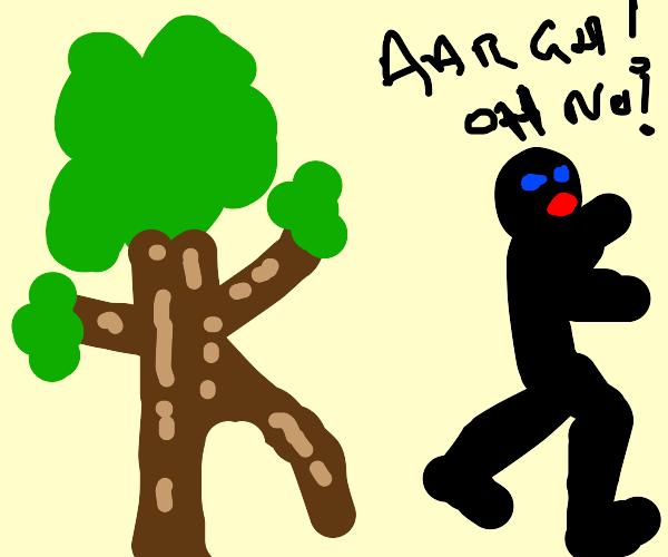 Guy screams and runs from a tree