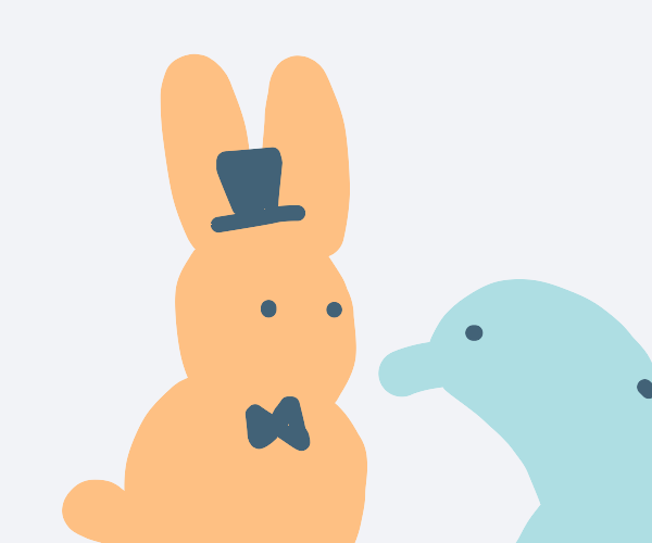 Bunny in top hat and dolphin