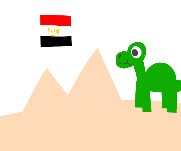 Dinosaur playing in the sands of Egypt