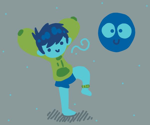 Happy boi walking on air