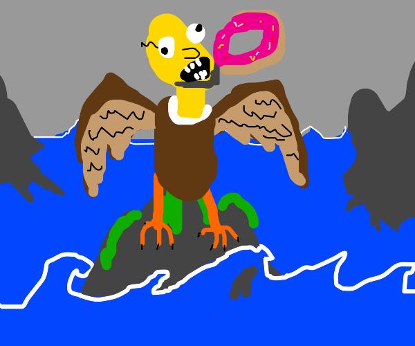 Homer Simpson, the harpie. Still a donut fan.