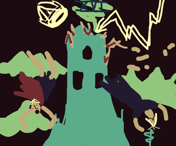 Exploding tower. Queen and king falling