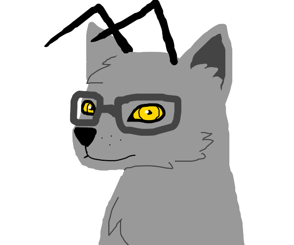 Wolf with antennas and glasses